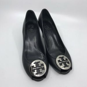 Tory Burch Black Peep Toe Wedge Shoes Size 9.5